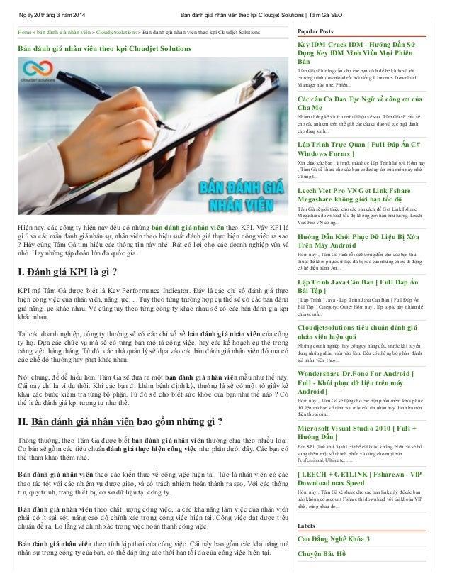 Ngày20 tháng 3 năm 2014 Bản đánh giá nhân viên theo kpi Cloudjet Solutions   Tâm Gà SEO Home » bản đánh giá nhân viên » Cl...