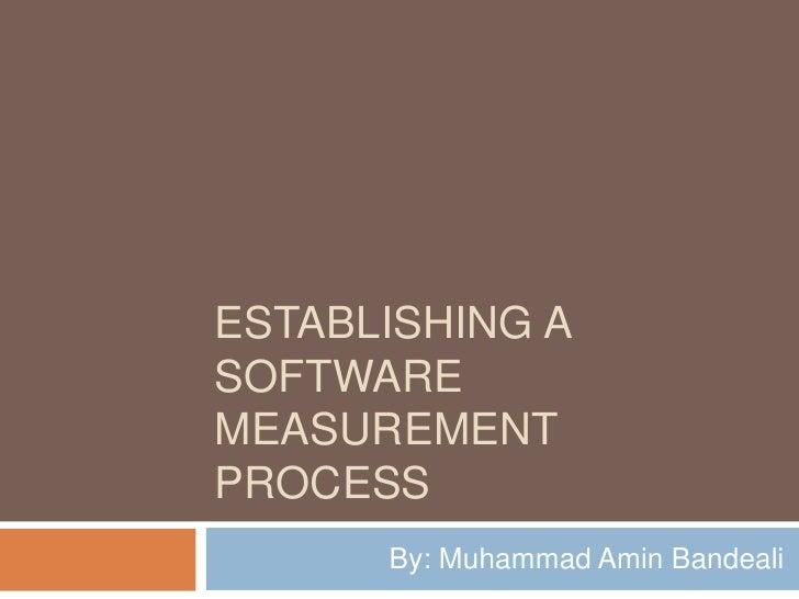 ESTABLISHING A SOFTWARE MEASUREMENT PROCESS       By: Muhammad Amin Bandeali