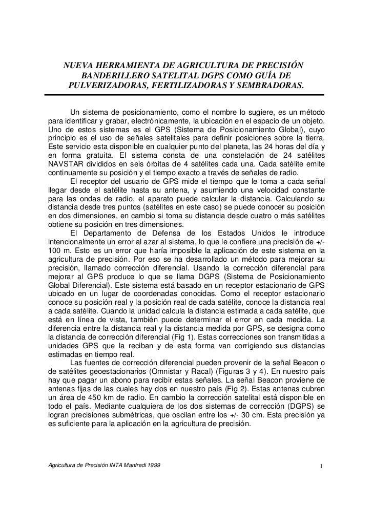 NUEVA HERRAMIENTA DE AGRICULTURA DE PRECISIÓN        BANDERILLERO SATELITAL DGPS COMO GUÍA DE      PULVERIZADORAS, FERTILI...