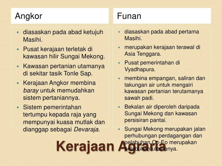 Angkor                             Funan   diasaskan pada abad ketujuh       diasaskan pada abad pertama    Masihi.     ...