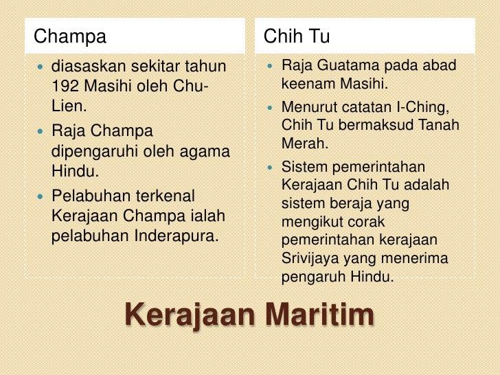 Champa                      Chih Tu diasaskan sekitar tahun      Raja Guatama pada abad  192 Masihi oleh Chu-          k...