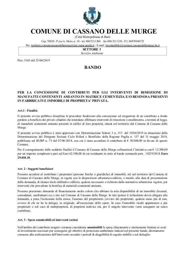 COMUNE DI CASSANO DELLE MURGE (Città Metropolitana di Bari) Cap. 70020 - P.zza A. Moro, n. 10 - tel. 080/3211200 – fax 080...