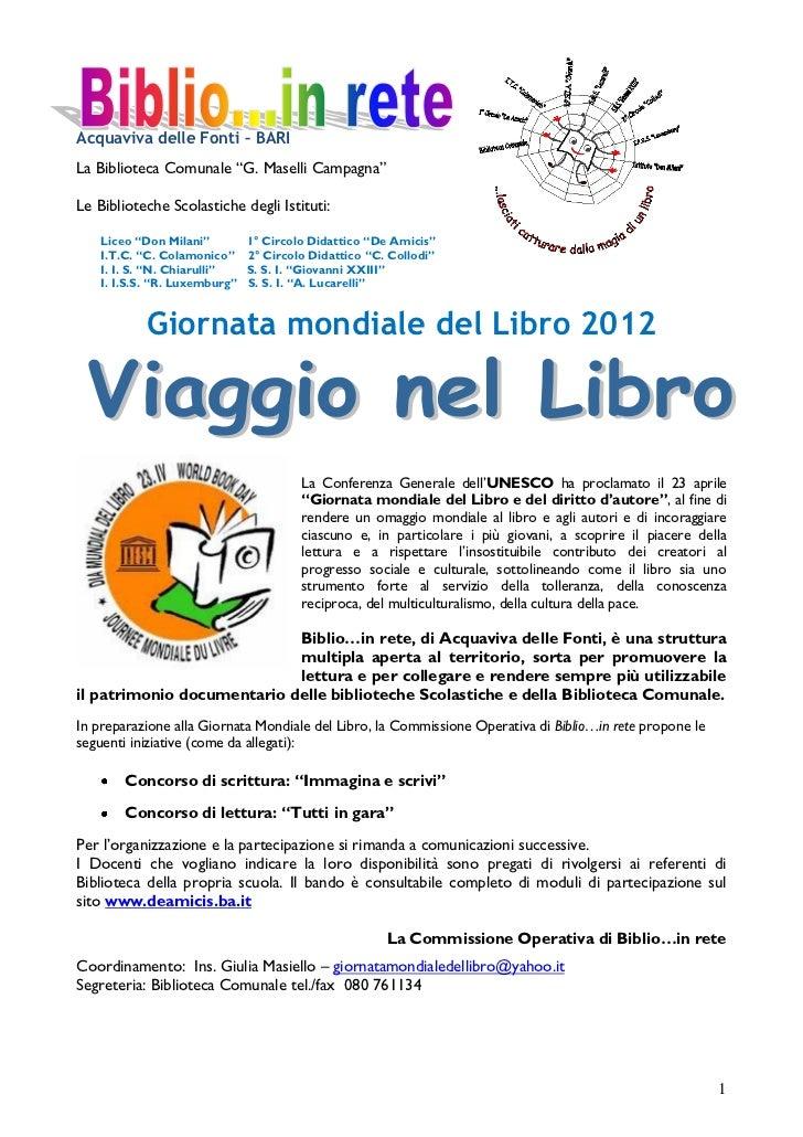 """Acquaviva delle Fonti – BARILa Biblioteca Comunale """"G. Maselli Campagna""""Le Biblioteche Scolastiche degli Istituti:    Lice..."""