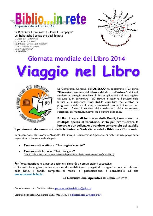 """Acquaviva delle Fonti – BARI La Biblioteca Comunale """"G. Maselli Campagna"""" Le Biblioteche Scolastiche degli Istituti: 1° Ci..."""