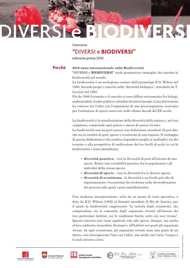 """Concorso                                   """"DIVERSI e BIODIVERSI""""                                  edizione prima 2010    ..."""