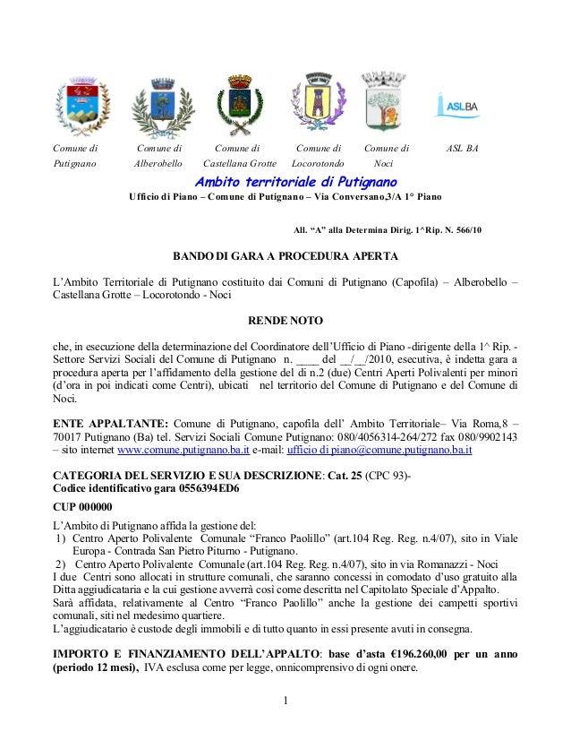 """Ambito territoriale di Putignano Ufficio di Piano – Comune di Putignano – Via Conversano,3/A 1° Piano All. """"A"""" alla Determ..."""