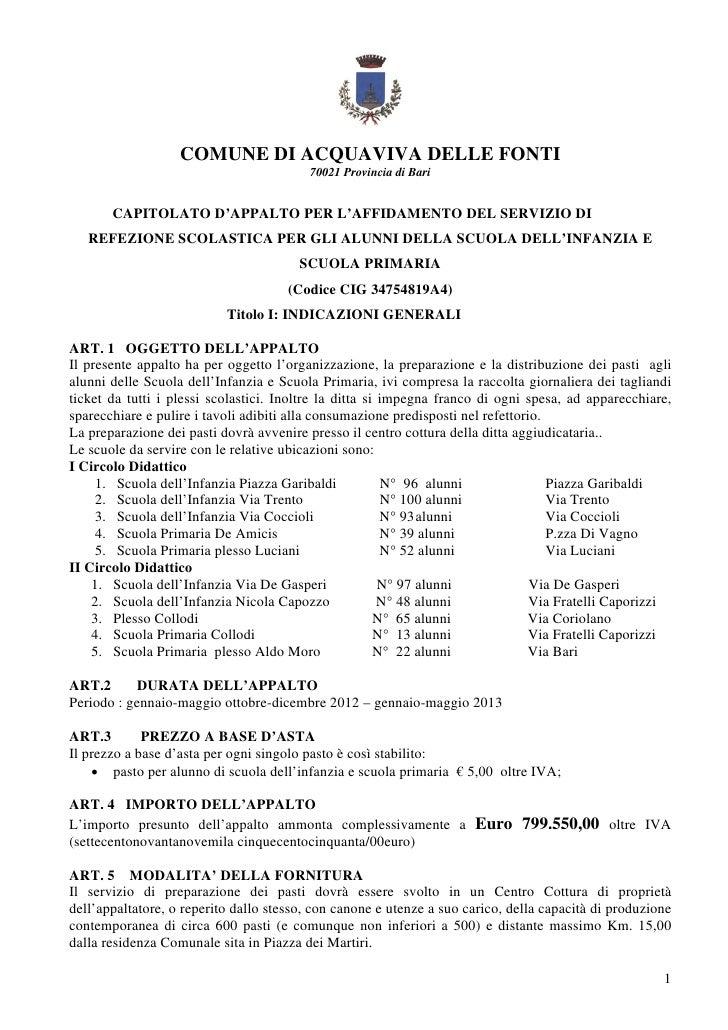 COMUNE DI ACQUAVIVA DELLE FONTI                                         70021 Provincia di Bari       CAPITOLATO D'APPALTO...
