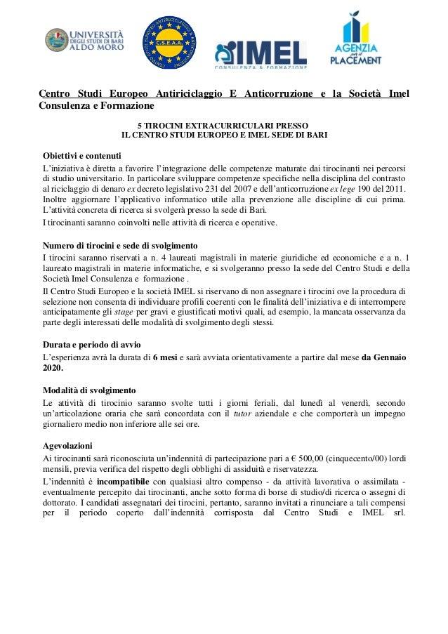Centro Studi Europeo Antiriciclaggio E Anticorruzione e la Società Imel Consulenza e Formazione 5 TIROCINI EXTRACURRICULAR...
