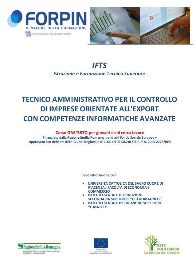 IFTS - Istruzione e Formazione Tecnica Superiore - TECNICO AMMINISTRATIVO PER IL CONTROLLO DI IMPRESE ORIENTATE ALL'EXPORT...