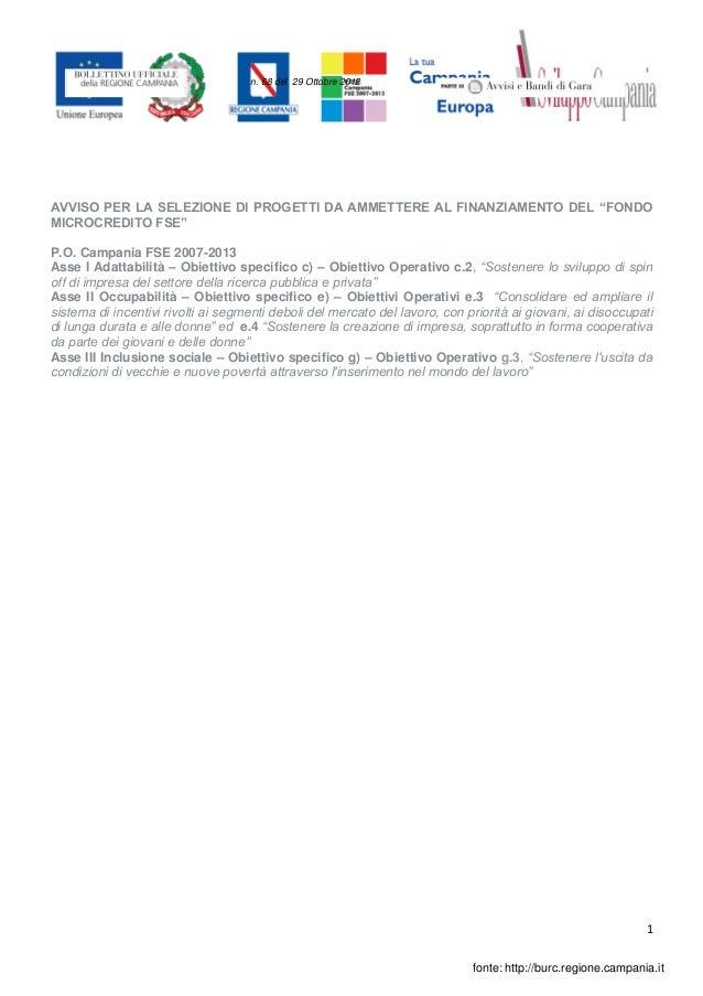 """n. 68 del 29 Ottobre 2012AVVISO PER LA SELEZIONE DI PROGETTI DA AMMETTERE AL FINANZIAMENTO DEL """"FONDOMICROCREDITO FSE""""P.O...."""