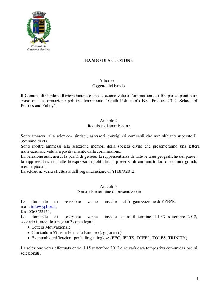BANDO DI SELEZIONE                                            Articolo 1                                         Oggetto d...