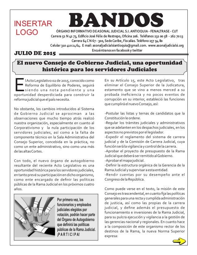 ÓRGANO INFORMATIVO DEASONAL JUDICIAL S.I.ANTIOQUIA - FENALTRASE -CUT Carrera 52 N 42 73, Edificio José Félix de Restrepo,Ofi...