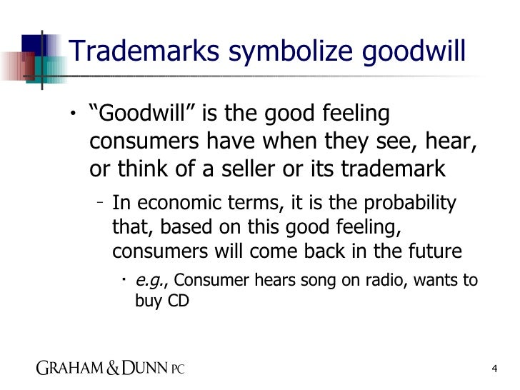the definition of a trademark and goodwill Fct v murry: the federal court takes licence with goodwill 203  property rights (eg patents, designs and trademarks)' this definition, from a.