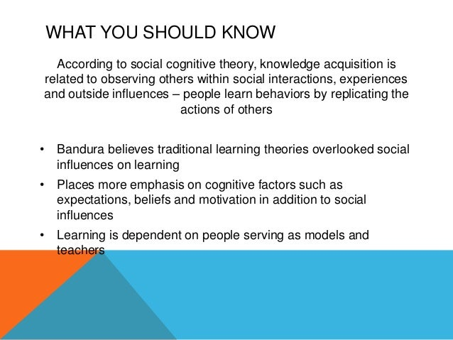 social cognitive theory bandura Social cognitive theory 3 individuals with the capability to alter their environments and influence their own actions theorists and or authors theorists primarily include bandura and zimmerman with.