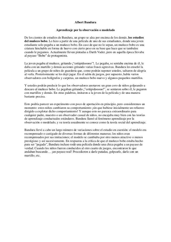 Albert Bandura<br />Aprendizaje por la observación o modelado<br />De los cientos de estudios de Bandura, un grupo se alza...