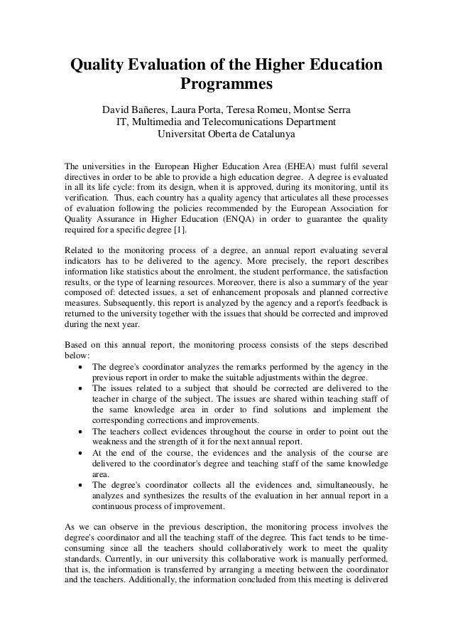 Quality Evaluation of the Higher Education Programmes David Bañeres, Laura Porta, Teresa Romeu, Montse Serra IT, Multimedi...