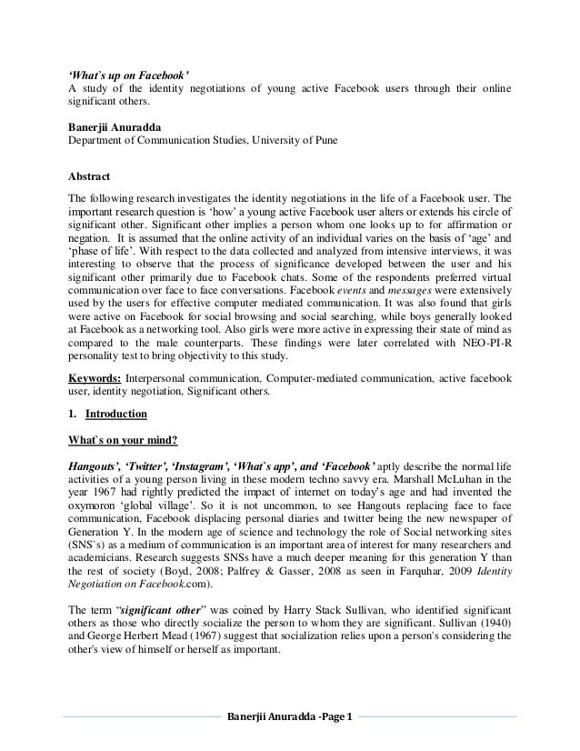 Banerjii Anuradda -Page 1 'What`s up on Facebook' A study of the identity negotiations of young active Facebook users thro...