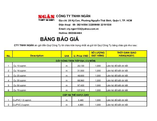 No.  Description  Unit  U. Price VND  SÔ LƯỢNGĐẶT HÀNG  THỜI GIAN GIAOHÀNG(NGÀY)  1  Cu 10 sqmm  m  20,130  1,000  Liên hệ...