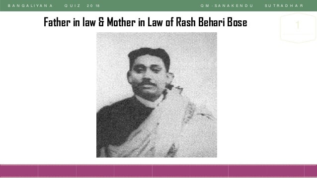 B A N G A L I Y A N A Q U I Z 2 0 18 Q M - S A N A K E N D U S U T R A D H A R 1Father in law & Mother in Law of Rash Beha...