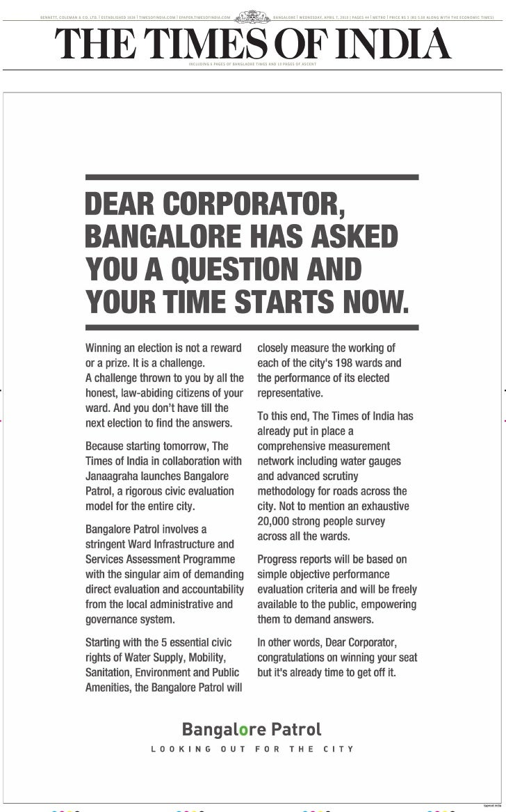 BENNETT, COLEMAN & CO. LTD. | ESTABLISHED 1838 | TIMESOFINDIA.COM | EPAPER.TIMESOFINDIA.COM                   BANGALORE | ...
