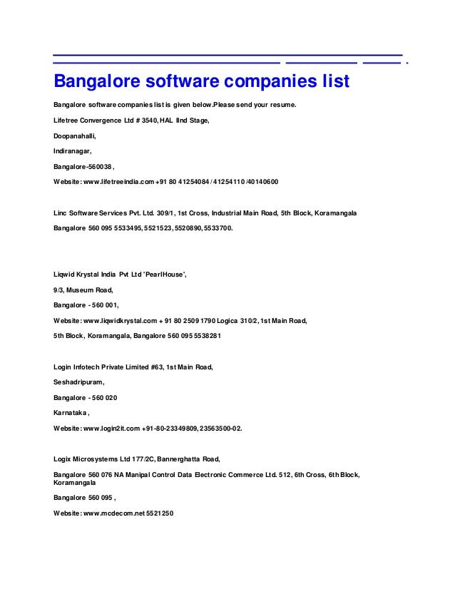 bangalore software companies list