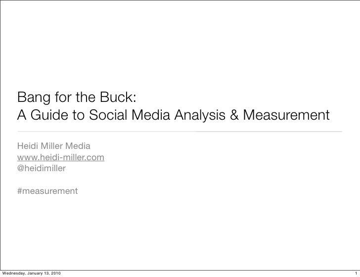 Bang for the Buck:       A Guide to Social Media Analysis & Measurement       Heidi Miller Media       www.heidi-miller.co...