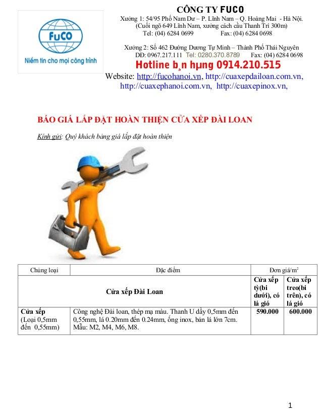 Báo giá cửa xếp Đài Loan