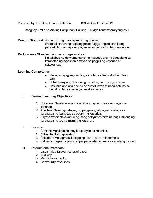 Sample lesson plan For Araling Panlipunan k12 grade 1
