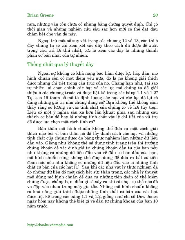 Brian Greene 20 http://ebooks.vdcmedia.com nûäa, nhûng vêîn coân chûa coá nhûäng bùçng chûáng quyïët àõnh. Chó coá thúâi g...
