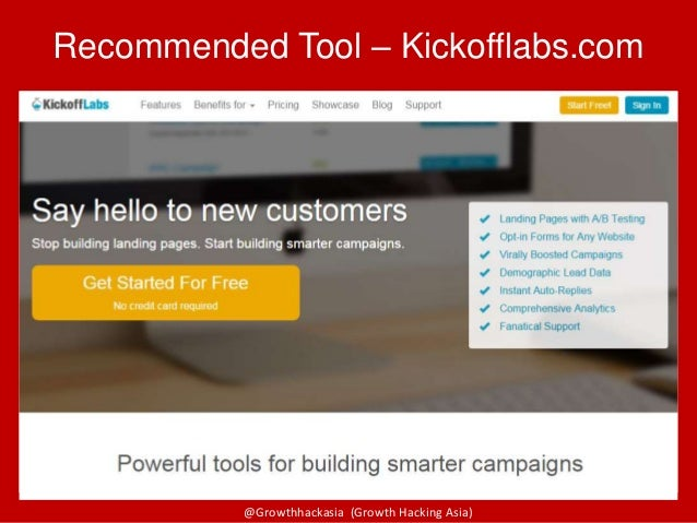 @Growthhackasia (Growth Hacking Asia) Recommended Tool – Kickofflabs.com