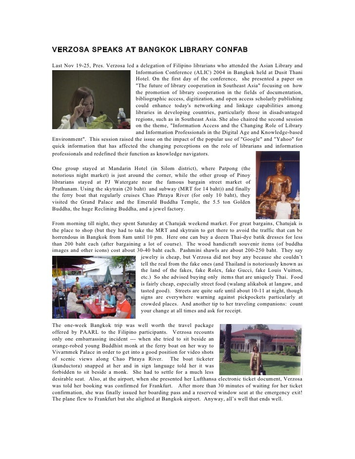 VERZOSA SPEAKS AT BANGKOK LIBRARY CONFAB  Last Nov 19-25, Pres. Verzosa led a delegation of Filipino librarians who attend...