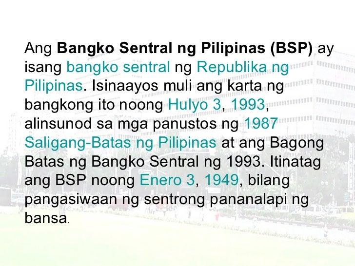 the bangko sentral ng pilipinas Sa lahat ng may kailangan ng video about role of bangko sentral in our economy eto na po :).