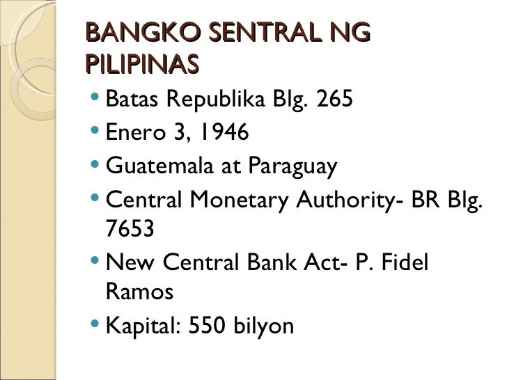 conclusion in bangko sentral ng pilipinas Currently affiliated with the bsp (bangko sentral ng pilipinas) as an on-site examiner conducts banking supervision through risk-based assessment of philippine banks' financial, strategic and.