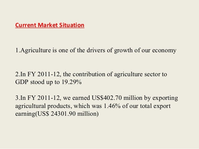 Contribution of agricultural product to the