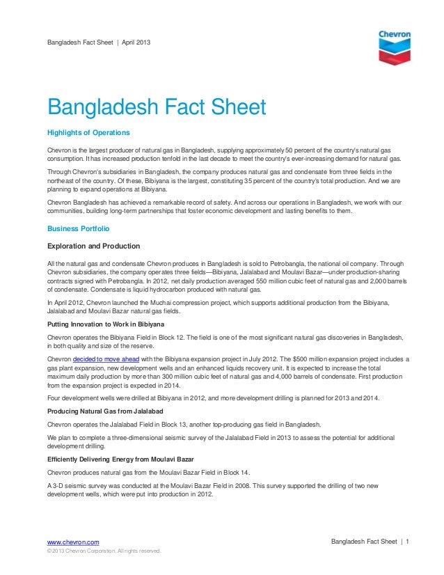 Bangladesh Fact Sheet | April 2013Bangladesh Fact Sheet | 1www.chevron.com© 2013 Chevron Corporation. All rights reserved....