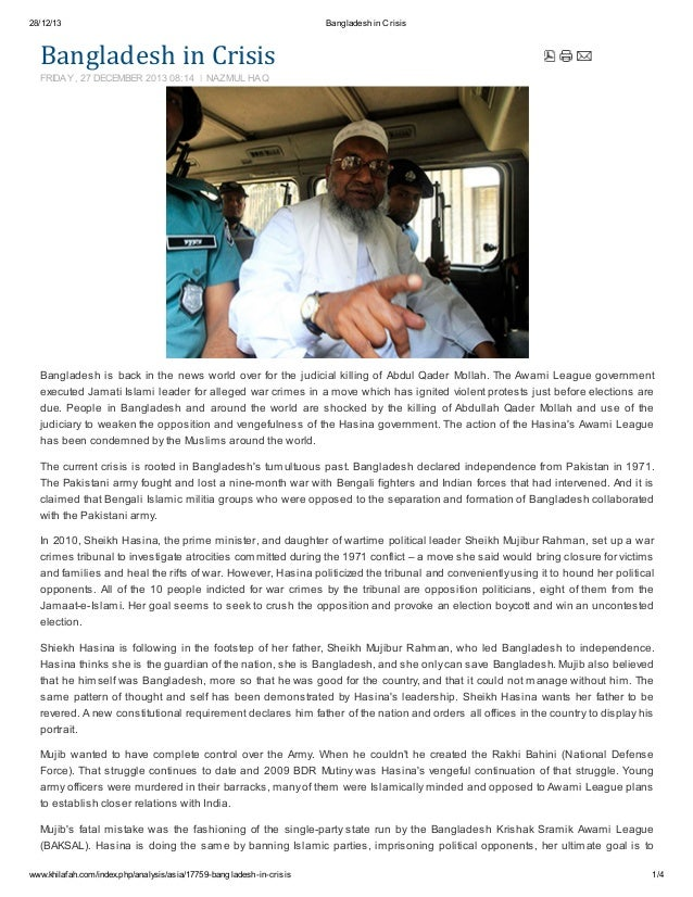 28/12/13  Bangladesh in Crisis  BangladeshinCrisis FRIDAY, 27 DECEMBER 2013 08:14  NAZMUL HAQ  Bangladesh is back in the...