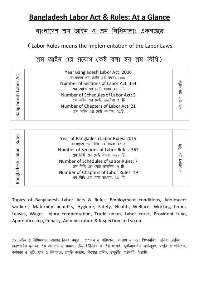 Bangladesh Labor Act & Rules: At a Glance বাাংলাদেশ শ্রম াঅাআন ও শ্রম বববিমালাাঃ একনজদে (Labor Rules means the Implementat...