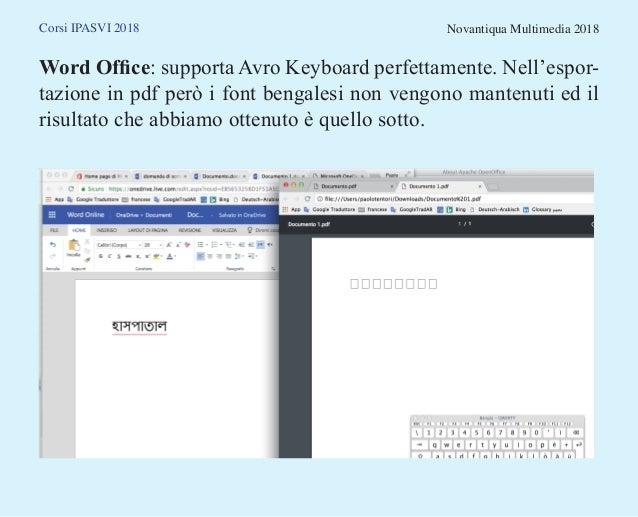 Corsi IPASVI 2018 Novantiqua Multimedia 2018 Word Office: supporta Avro Keyboard perfettamente. Nell'espor- tazione in pdf...