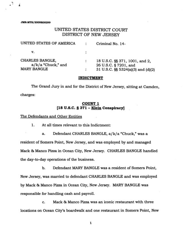 """JMR-MTS/2009R00299 UNITED STATES DISTRICT COURT DISTRICT OF NEW JERSEY UNITED STATES OF AMERICA v. CHARLES BANGLE, a/k/a """"..."""