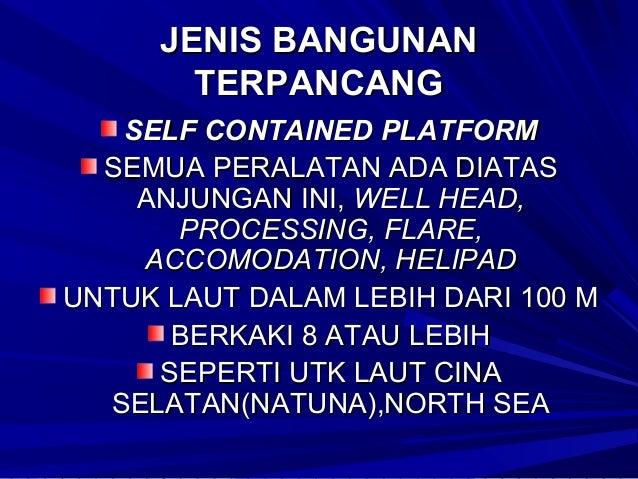 JENIS BANGUNAN TERIKAT 1.TENSION LEG PLATFORM(ANJUNGAN APUNG TERIKAT) DIOPERASIKAN DI LADANG WEST SENO SELAT MAKASSAR PADA...