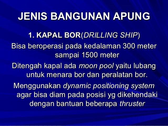 JENIS BANGUNAN APUNG Dipergunakan untuk membantu kegiatan penambangan minyak dan gas dilaut. Kapal Tanker Kapal Supply(Sup...