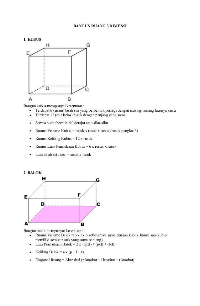 BANGUN RUANG 3 DIMENSI 1. KUBUS Bangun kubus mempunyai ketentuan : • Terdapat 6 (enam) buah sisi yang berbentuk persegi de...