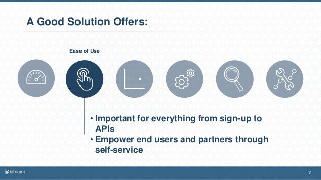 A Good Solution Offers: • Important for everything from sign-up to APIs • Empower end users and partners through self-serv...