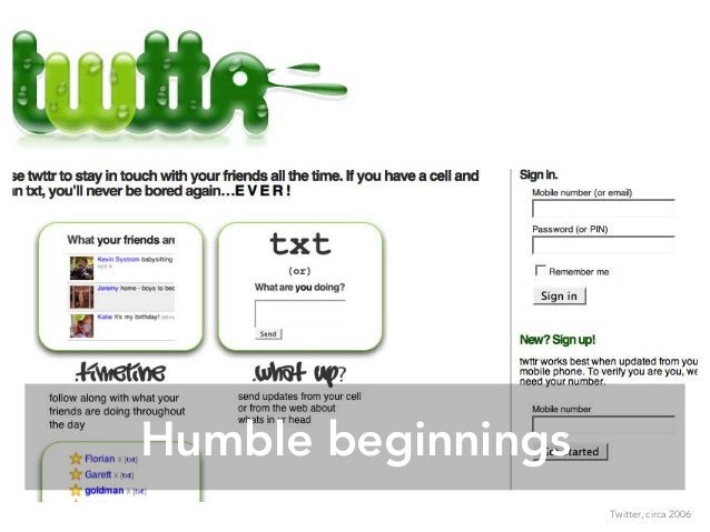 Humble beginnings Twitter, circa 2006