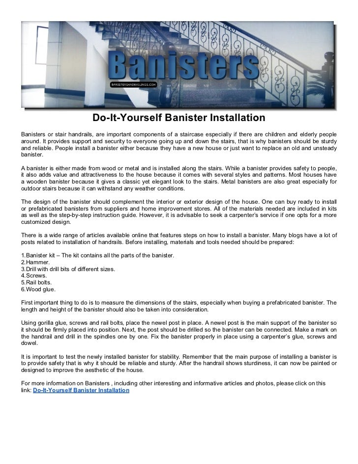 Do it yourself banister installation do it yourself banister installationbanisters or stair handrails are important components of a solutioingenieria Image collections