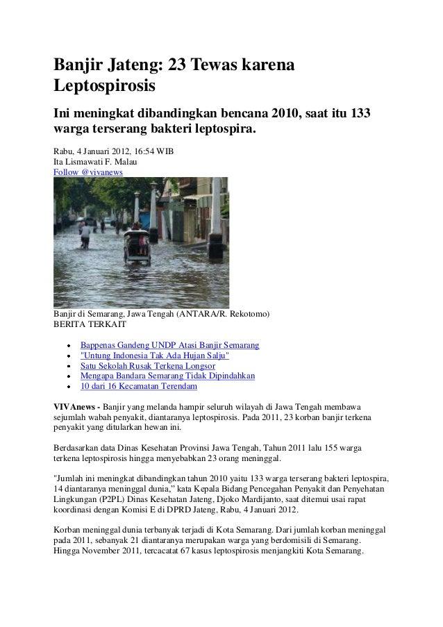 Banjir Jateng: 23 Tewas karenaLeptospirosisIni meningkat dibandingkan bencana 2010, saat itu 133warga terserang bakteri le...