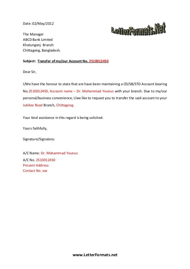 Bank account transfer letter date 02may2012 the manager abcd bank limited khatungonj branch chittagong thecheapjerseys Image collections