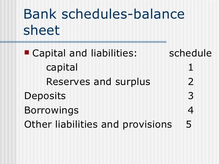 Bank schedules-balance sheet <ul><li>Capital and liabilities:   schedule </li></ul><ul><li>capital   1 </li></ul><ul><li>R...