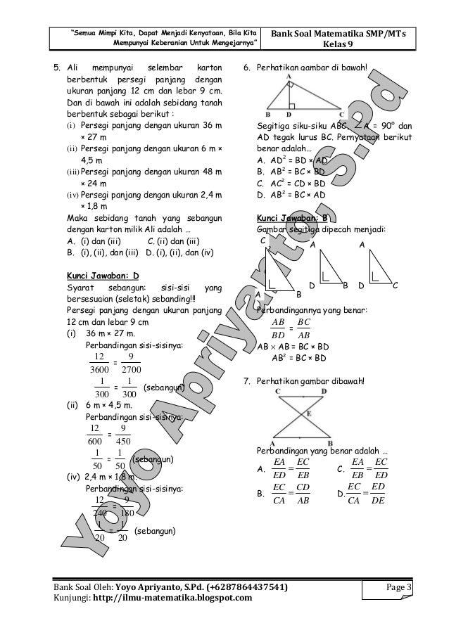 Jawaban Soal Matematika Perbandingan Download Soal Matematika Kelas Materi Pengayaan Un