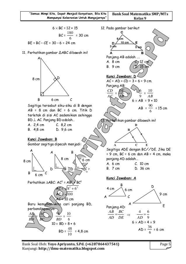 Soal-soal Kesebangunan dan kongruen pada segitiga